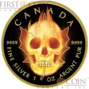 Canada BURNING MAPLE SKULL $5 Canadian Maple Leaf Silver coin 2015 Black Ruthenium & Gold Plated 1 oz